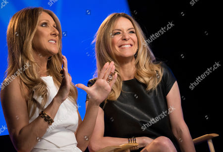 Celine Dion, left, and Veronic DiCaire speak during an interview at the Jubilee Theatre on in Las Vegas