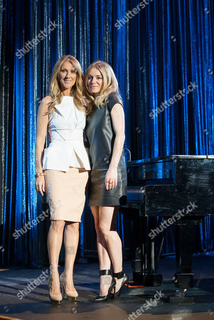 Celine Dion, left, and Veronic DiCaire pose for a portrait at the Jubilee Theatre on in Las Vegas