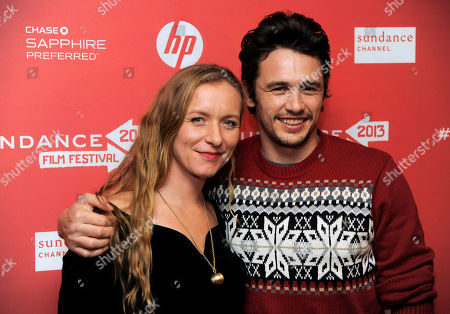 """Christina Voros, left, director of the documentary film """"kink,"""" poses with producer James Franco at the premiere of the film at the 2013 Sundance Film Festival, in Park City, Utah"""