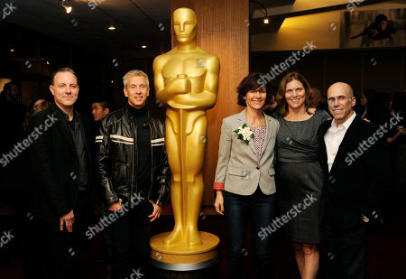 "From left, Kirk DeMicco and Chris Sanders, co-directors of the Oscar-nominated animated feature film ""The Croods,"" pose with producers Kristine Belson and Jane Hartwell and DreamWorks Animation CEO Jeffrey Katzenberg at a reception featuring the Oscar nominees in the Animated Feature Film category, in Beverly Hills, Calif. The 86th Oscars ceremony will be held on Sunday at the Dolby Theatre in Los Angeles"