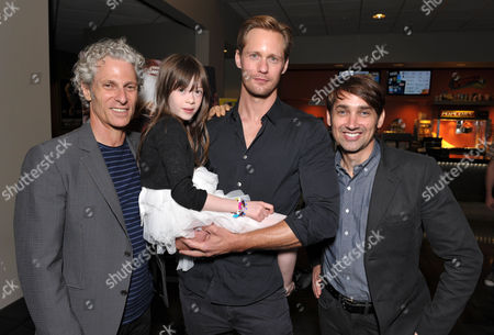 "Stock Picture of From left, David Siegel, Onata Aprile, Alexander Skarsgard, and Scott McGehee attend the LA Times Screening of ""What Maisie Knew"" on in North Hollywood, Calif"