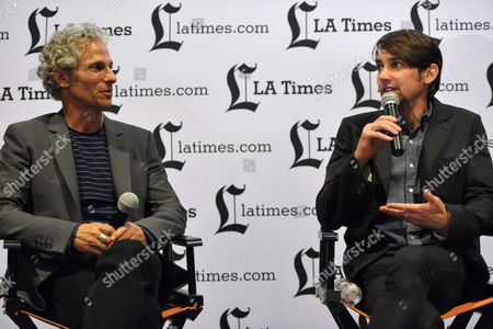 "David Siegel, left, and Scott McGehee appear on stage during the Q&A for the LA Times Screening of ""What Maisie Knew"" on in North Hollywood, Calif"