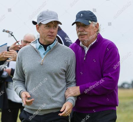 Actor Greg Kinnear with Celtic FC majority shareholder dermot desmond on the 18th hole at Carnoustie