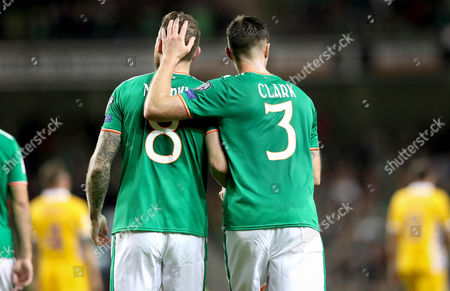 Republic of Ireland vs Moldova. Ireland's Daryl Murphy celebrates scoring the second goal with Ciaran Clarke