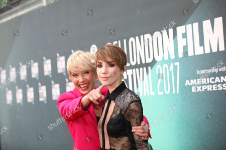 Gaia Romilly Wise, Emma Thompson. Actress Emma Thompson, left, poses with her daughter Gaia Romilly Wise, for photographers upon arrival at the premiere of the film 'The Meyerowitz Stories' during the London Film Festival in London