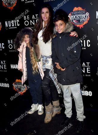 Stock Picture of Katie Price, Junior Andre and Princess Tiaamii