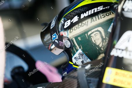 Stock Photo of Monster Energy Series driver Jimmie Johnson (48) wears a tribute to Bobby Allison on his helmet on the first day of the Bank of America weekend at Charlotte Motor Speedway in Charlotte, NC