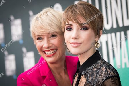 Emma Thompson, Gala Romily Wise. Actress Emma Thompson, left, poses with her daughter Gaia Romilly Wise, for photographers upon arrival at the premiere of the film 'The Meyerowitz Stories' during the London Film Festival in London