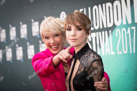 Stock Picture of Emma Thompson, Gala Romily Wise. Actress Emma Thompson, left, poses with her daughter Gaia Romilly Wise, for photographers upon arrival at the premiere of the film 'The Meyerowitz Stories' during the London Film Festival in London