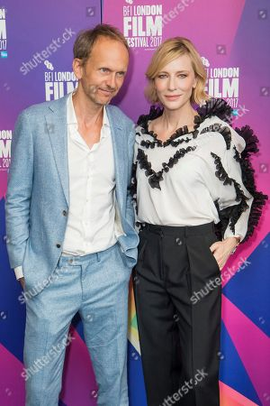 Julian Rosefeldt, Cate Blanchett. Director Julian Rosefeldt and actress Cate Blanchett pose for photographers upon arrival at the London Film Festival Connect event in London