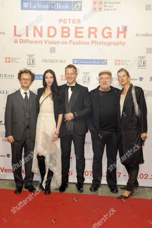 Stock Picture of Mariacarla Boscono, Thierry Maxime Loriot, Peter Lindbergh and Emily Hansen