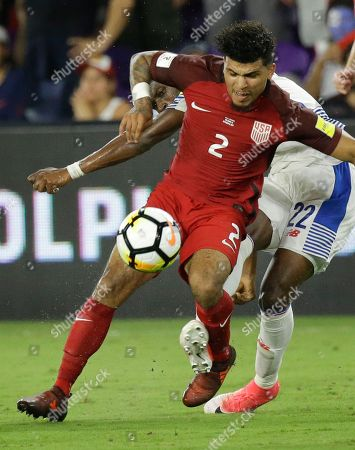 DeAndre Yedlin, Abdiel Arroyo. United States' DeAndre Yedlin (2) blocks the path of Panama's Abdiel Arroyo (22) path for a shot during the second half of a World Cup qualifying soccer match, in Orlando, Fla. The United States won 4-0