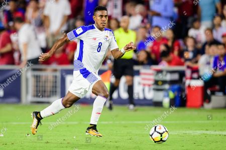 Stock Picture of Panama Forward Edgar Yoel Barcenas (8) during the Men's International Soccer World Cup Qualifier match between Panama and the United States at Orlando City Stadium in Orlando, FL