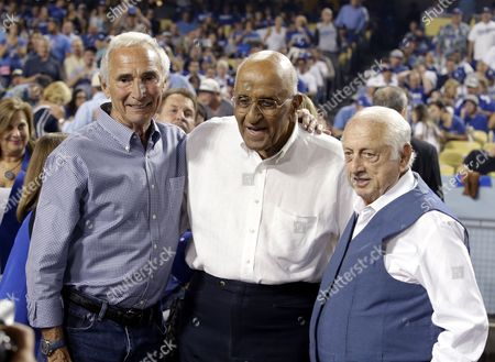 Sandy Koufax, Don Newcombe and Tommy Lasorda