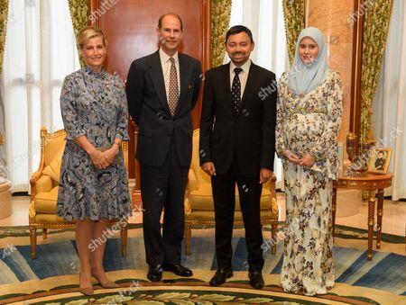 Stock Image of Prince Edward and Sophie Countess of Wessex audience with Crown Prince Haji Al-Muhtadee, Sarah Crown Princess of Brunei at Qashr Al-Meezaan Palace