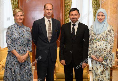 Prince Edward and Sophie Countess of Wessex audience with Crown Prince Haji Al-Muhtadee, Sarah Crown Princess of Brunei at Qashr Al-Meezaan Palace