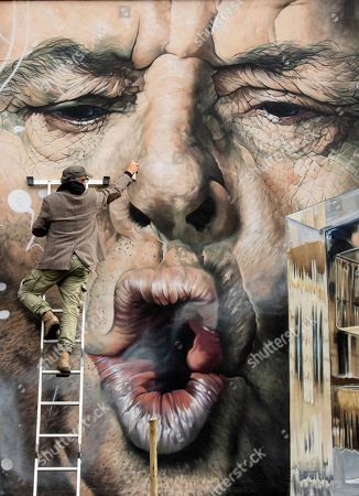 German street art artist TASSO (Jens Mueller) completes his new work, a graffito wall painting showing Hollywood star Jack Nicholson in Zwickau, eastern Germany, . TASSO created his art on different places all over the world