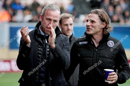 Wycombe Wanderers manager Gareth Ainsworth and Cambridge Utd's manager Shaun Derry before the EFL Sky Bet League 2 match between Cambridge United and Wycombe Wanderers at the Cambs Glass Stadium, Cambridge