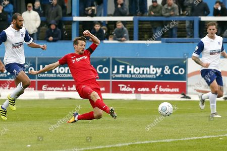 Stock Picture of O's David Mooney scores the opener during Barrow vs Leyton Orient, Vanarama National League Football at the Furness Building Society Stadium on 7th October 2017