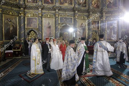 Prince Philip of Yugolsavia and his bride, Serbian painter Danica Marinkovic  during their wedding ceremony at the St. Michael's Cathedral in Belgrade, Serbia, 07 October 2017. The prince also known as Filip Karadjordjevic is the son of Prince Alexander of Yugoslavia and Princess Maria da Gloria.