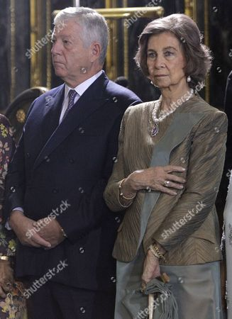 Queen Sofia of Spain (R) and Prince Alexander of Yugolsavia (L) during the wedding ceremony of Prince Philip of Yugolsavia and his bride, Serbian painter Danica Marinkovic at the St. Michael's Cathedral in Belgrade, Serbia, 07 October 2017.  The prince also known as Filip Karadjordjevic is the son of Prince Alexander of Yugoslavia and Princess Maria da Gloria.