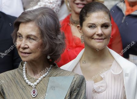 Queen Sofia of Spain (L) and Victoria, Crown princess of Sweden (R) smile after the wedding ceremony of Prince Philip of Yugolsavia and his bride, Serbian painter Danica Marinkovic at the St. Michael's Cathedral in Belgrade, Serbia, 07 October 2017. The prince also known as Filip Karadjordjevic is the son of Prince Alexander of Yugoslavia and Princess Maria da Gloria.