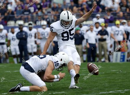 Tyler Davis, Billy Fessler. Penn State kicker Tyler Davis, right, scores a field goal as holder Billy Fessler looks on during the first half of an NCAA college football game against Northwestern in Evanston, Ill., . Penn State won 31-7