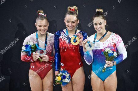 Maria Paseka, Jade Carey and Giulia Steingruber