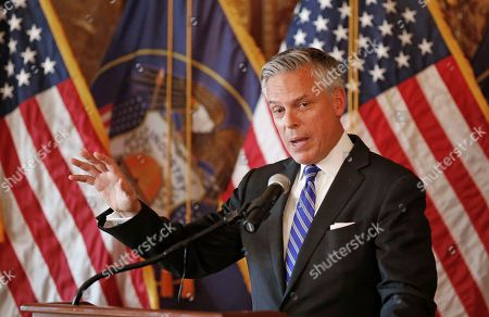 Jon Huntsman Jr., the new U.S. ambassador to Russia, speaks during a ceremonial swearing-in event with Utah Gov. Gary Herbert, in Salt Lake City. The new U.S. ambassador to Russia says restoring Ukrainian sovereignty and dealing with North Korea are key to improving relations between the two countries