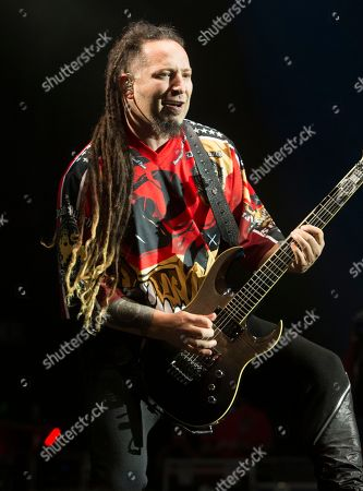 Zoltan Bathory of the band Five Finger Death Punch performs in concert during the Rock Allegiance Festival at BB&T Pavilion, in Camden, N.J