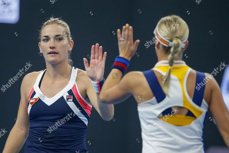 Timea Babos (L) of Hungary and Andrea Hlavackova (R) of the Czech Republic reacts during their women's doubles final match against Martina Hingis of Switzerland and Yung-Jan Chan of Taiwan at the China Open tennis tournament at the National Tennis Center in Beijing, China, 08 October 2017.