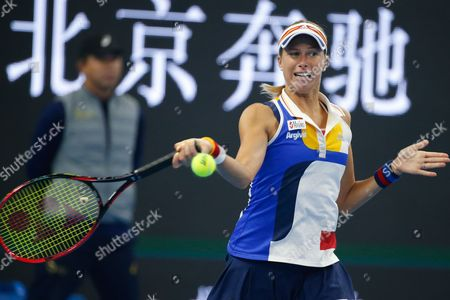 Andrea Hlavackova of the Czech Republic and Timea Babos (not pictured) of Hungary in action during their women's doubles final match against Martina Hingis of Switzerland and Yung-Jan Chan of Taiwan at the China Open tennis tournament at the National Tennis Center in Beijing, China, 08 October 2017.
