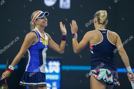 Timea Babos (R) of Hungary and Andrea Hlavackova (L) of the Czech Republic reacts during their women's doubles final match against Martina Hingis of Switzerland and Yung-Jan Chan of Taiwan at the China Open tennis tournament at the National Tennis Center in Beijing, China, 08 October 2017.