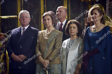 Crown Prince Alexander, Former Queen Sofia of Spain, Princess Katherine, Princess Maria da Gloria, Beba Marinkovic at The Cathedral Church of St. Michael the Archangel