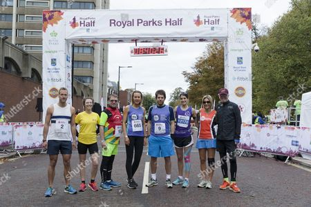 Celebrity runners (from left) Ben Fogle, Camilla Rutherford, Adam Woodyatt, Frances Quinn, Andy Goldstein, Susie Amy, Emily Maitlis, Chris Evans