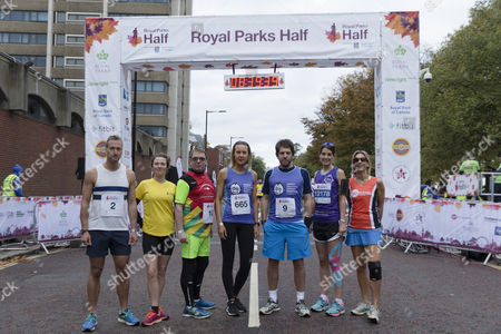 Celebrity runners (from left) Ben Fogle, Camilla Rutherford, Adam Woodyatt, Frances Quinn, Andy Goldstein, Susie Amy, Emily Maitlis