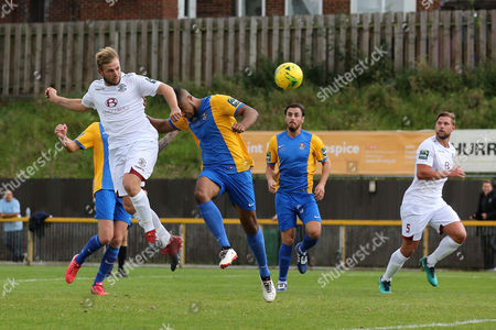 Sam Adams of Hastings scores the first goal for his team and celebrates during Romford vs Hastings United, FA Trophy Football at Ship Lane on 8th October 2017
