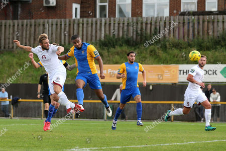 Stock Photo of Sam Adams of Hastings scores the first goal for his team and celebrates during Romford vs Hastings United, FA Trophy Football at Ship Lane on 8th October 2017