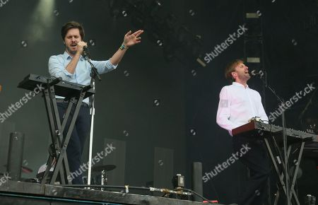Stock Image of Ben Browning, Dan Whitford. Cut Copy's Ben Browning, left, and Dan Whitford perform on day two of the Austin City Limits Music Festival's first weekend, in Austin, Texas