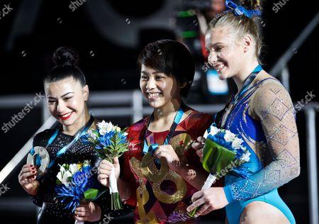 Mai Murakami, Jade Carey and Claudia Fragapane