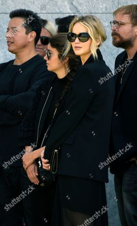 Stock Picture of Actress Jennifer Lawrence attends a life celebration and statue unveiling for the late actor Anton Yelchin at Hollywood Forever Cemetery, in Los Angeles. Yelchin died in June 2016 at the age of 27