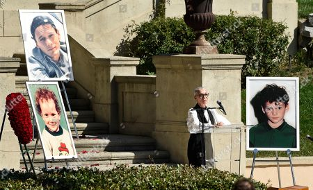 Irina Korina. The late actor Anton Yelchin's mother Irina speaks at a life celebration and statue unveiling for Yelchin at Hollywood Forever Cemetery, in Los Angeles. Yelchin died in June 2016 at the age of 27