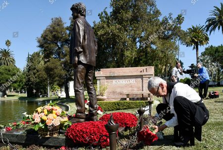Irina Korina. The late actor Anton Yelchin's mother Irina arranges flowers around a newly unveiled statue of her son during a life celebration and statue unveiling for Yelchin at Hollywood Forever Cemetery, in Los Angeles. Yelchin died in June 2016 at the age of 27