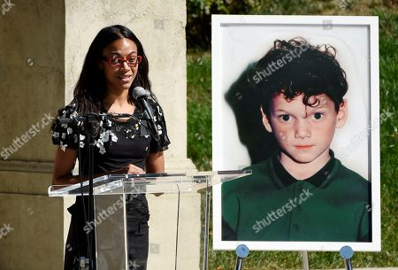Actress Zoe Saldana speaks at a life celebration and statue unveiling for the late actor Anton Yelchin at Hollywood Forever Cemetery, in Los Angeles. Yelchin died in June 2016 at the age of 27