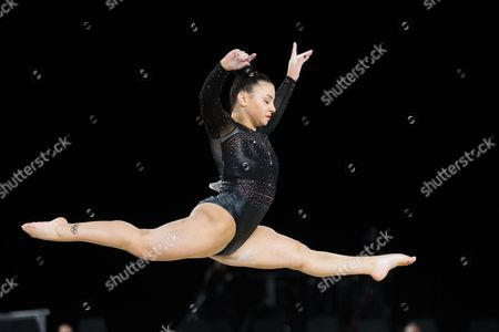 Bronze medal winner Claudia Fragapane of Great Britain (555) during the apparatus finals of the Artistic Gymnastics World Championships at Olympic Stadium in Montreal, Canada