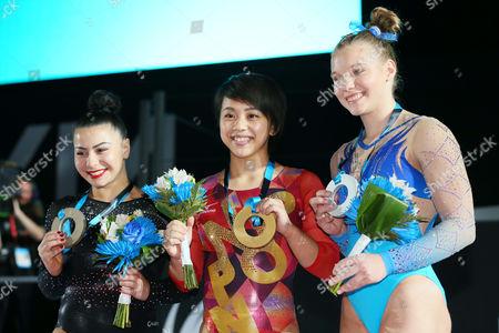 (L to R) Claudia Fragapane (GBR), Mai Murakami (JPN), Jade Carey (USA) - Artistic Gymnastics : 2017 World Artistic Gymnastics Championships Women's Apparatus Medal Ceremony Floor Exercise at Olympic Stadium, Montreal, Canada.