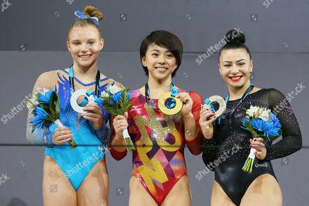 (L to R) Jade Carey (USA), Mai Murakami (JPN), Claudia Fragapane (GBR) - Artistic Gymnastics : 2017 World Artistic Gymnastics Championships Women's Apparatus Medal Ceremony Floor Exercise at Olympic Stadium, Montreal, Canada.