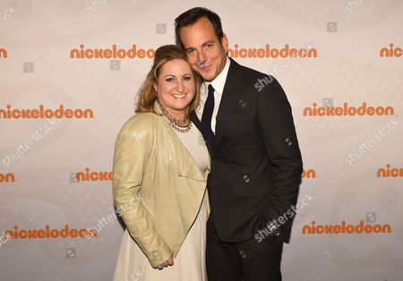 Cyma Zarghami, President of Viacom Kids and Family and Will Arnett seen at the 2015 Nickelodeon Upfront at Skylight at Moynihan Station, on in New York