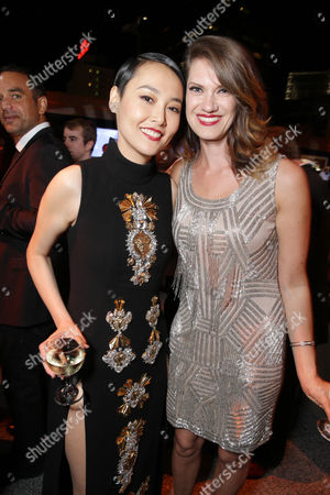IMAGE DISTRIBUTED FOR WARNER BROS. - Rinko Kikuchi, left, and Heather Doerksen seen at the Los Angeles Premiere of Warner Bros Pictures and Legendary Pictures 'PACIFIC RIM', on Tuesday, July, 9, 2013 in Los Angeles