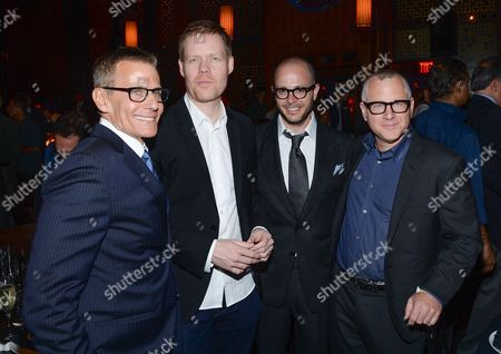 """HBO programming president Michael Lombardo, left, composer Max Richter, co-creators and executive producers Damon Lindelof and Tom Perrotta, right, attend HBO's """"The Leftovers"""" season premiere after party at TAO on in New York"""